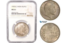 AC388, India (British) Edward VII, 1 Rupee 1905-C, Calcutta, Silver, NGC MS61