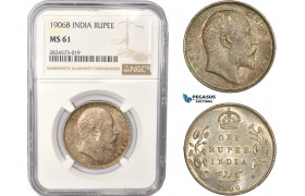 AC389, India (British) Edward VII, 1 Rupee 1906-B, Bombay, Silver, NGC MS61
