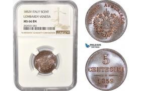 AC390, Italy, Lombardy-Venetia, 5 Centesimi 1852-V, Venice, NGC MS66BN, Pop 1/0