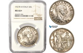 AC391, Italy, Vittorio Manuele III, 20 Lire 1927-R, A. VI, Rome, Silver, NGC MS66+, Pop 1/4
