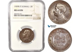 AC393, Italian Somaliland, Vittorio Manuele III, 2 Bese 1909-R, Rome, NGC MS64BN, Pop 2/0