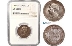AC393, Italian Somaliland, Vittorio Manuele III, 2 Bese 1909-R, Rome, NGC MS64BN, Pop 2/0