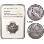 AC394, Italian Somaliland, Vittorio Manuele III, 2 Bese 1921-R, Rome, NGC MS64BN, Pop 1/0