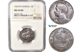 AC394, Italian Somaliland, Vittorio Manuele III, 2 Bese 1921-R, Rome, NGC MS64BN, Pop 1/0