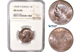 AC395, Italian Somaliland, Vittorio Manuele III, 2 Bese 1924-R, Rome, NGC MS65BN, Pop 1/0