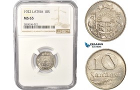 AC396, Latvia, 10 Santimi 1922, NGC MS65, Pop 3/1
