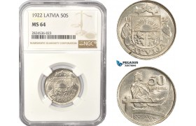 AC397, Latvia, 50 Santimi 1922, NGC MS64, Pop 3/1