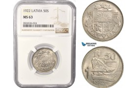 AC398, Latvia, 50 Santimi 1922, NGC MS63