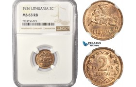 AC399, Lithuania, 2 Centai 1936, NGC MS63RB