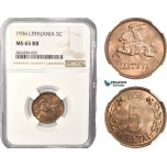 AC400, Lithuania, 5 Centai 1936, NGC MS65RB