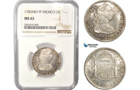 AC401, Mexico, Charles IV, 2 Reales 1782 Mo FF, Mexico City, Silver, NGC MS62