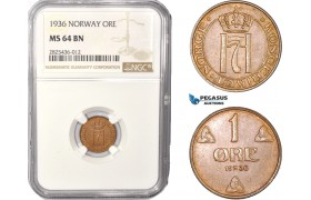 AC403, Norway, Haakon VII, 1 Øre 1936, NGC MS64BN, Pop 1/0