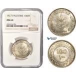 AC405, Palestine, 100 Mils 1927, London, Silver, NGC MS64