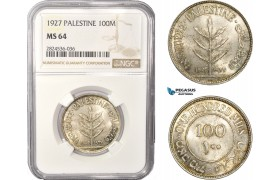 AC405, Palestine, 100 Mils 1927, London, Silver, NGC MS64