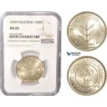 AC406, Palestine, 100 Mils 1939, London, Silver, NGC MS65, Pop 3/0