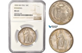"AC407, Peru, ""Standing"" 50 Centimos 1858 MB, Lima, Silver, NGC MS63, Pop 4/3"