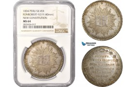 "AC408, Peru, Silver Medal (Ø40mm) 1834 ""New Constitution"" Fonrobert-9219, NGC MS64"