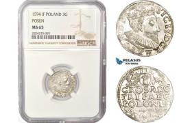 AC410, Poland, Sigismund III, 3 Groschen (Trojak) 1594 IF, Poznan (Posen) Silver, NGC MS65, Pop 4/0