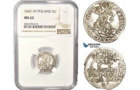AC411, Poland, John Casimir, 3 Groschen (Trojak) 1662 AT, Cracow, Silver, NGC MS62