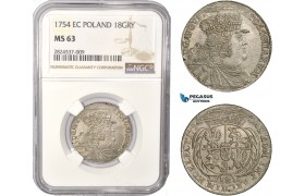 AC412, Poland, August III, 18 Groschen (Ort) 1754 EC, Leipzig, Silver, NGC MS63