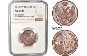 AC413, Poland, Nicholas I. of Russia, 3 Grosze 1840-MW, Warsaw, NGC MS65RB, Top Pop