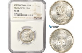 "AC416, Portugal, Carlos I, 200 Reis 1898, Lisbon, Silver, ""Discovery of India"" NGC MS63"
