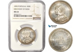 "AC417, Portugal, Carlos I, 500 Reis 1898, Lisbon, Silver, ""Discovery of India"" NGC MS64"