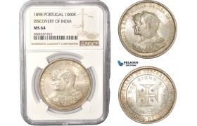 "AC418, Portugal, Carlos I, 1000 Reis 1898, Lisbon, Silver, ""Discovery of India"" NGC MS64"