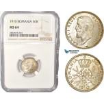 AC420, Romania, Carol I, 50 Bani 1910, Brussels, Silver, NGC MS64