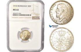 AC421, Romania, Carol I, 50 Bani 1910, Brussels, Silver, NGC MS64