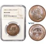 AC438, South Africa (ZAR) 1 Penny 1892, Berlin, NGC MS66BN (Looks RB) Pop 4/0, Rare Grade!