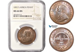 AC438, South Africa (ZAR) 1 Penny 1892, Berlin, NGC MS66BN (Looks RB) Pop 4/0, Rare Grade!