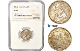 AC439, South Africa (ZAR) Sixpence (6P) 1895, Pretoria, Silver, NGC MS62