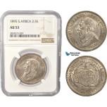 AC440, South Africa (ZAR) 2 1/2 Shillings 1895, Pretoria, Silver, NGC AU53