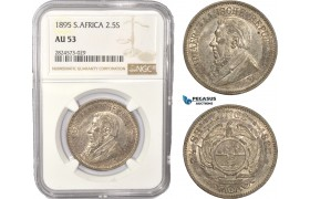 AC440, South Africa (ZAR) 2 1/2 Shillings 1895, Pretoria, Silver, NGC AU53