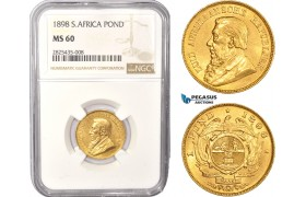 AC441, South Africa (ZAR) 1 Pond 1898, Pretoria, Gold, NGC MS60