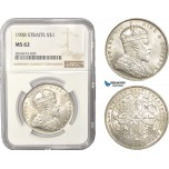 AC443, Straits Settlements, Edward VII, 1 Dollar 1908, Bombay, Silver, NGC MS62