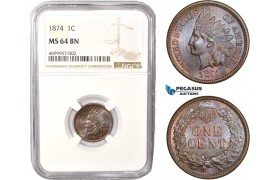 AC448, United States, Indian Head Cent 1874, Philadelphia, NGC MS64BN