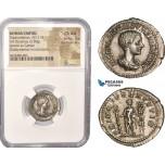 AC451, Roman Empire, Diadumenian Caesar (217-218 AD) AR Denarius (3.30g) Rome, Prince between standards, NGC Ch AU