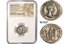 AC451, Roman Empire, Diadumenian Caesar (217-218 AD) AR Denarius (3.30g) Rome, Prince between standards, NGC Ch AU