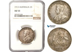 AC452-R, Australia, George V, 2 Shillings / Florin 1913, Silver, NGC AU53