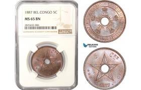 AC454-R, Belgian Congo, Leopold II, 5 Centimes 1887, NGC MS65BN, Pop 4/1