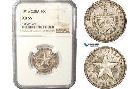 AC455-R, Cuba, 20 Centavos 1916, Philadelphia, Silver, NGC AU55