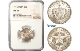 AC456-R, Cuba, 20 Centavos 1916, Philadelphia, Silver, NGC MS63