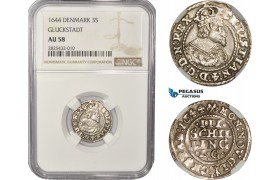 AC458-R, Denmark, Glückstadt, Christian IV, 3 Skilling Lybsk 1644 LG, Silver, NGC AU58, Pop 1/0