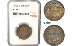 AC461-R, Finland, Alexander II. of Russia, 2 Markkaa 1872 S, Silver, NGC AU58