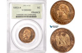AC463, France, Napoleon III, 5 Centimes 1853-A, Paris, PCGS MS65RD (Slab scratched)