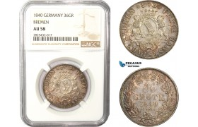 AC465-R, Germany, Bremen, 36 Grote 1840, Silver, NGC AU58, Pop 1/1