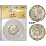 AC469, Greece, George I, 1 Drachma 1874-A, Paris, Silver, ANACS AU50 (Cleaned)