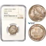 AC470-R, Italy, Papal, Pius IX, 20 Baiocchi 1850-R IV, Rome, Silver, NGC MS64, Pop 4/1